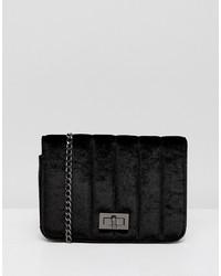schwarze Satchel-Tasche aus Wildleder von French Connection