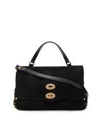 schwarze Satchel-Tasche aus Wildleder von Zanellato