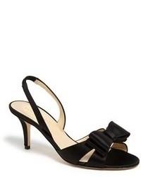schwarze Satin Sandaletten
