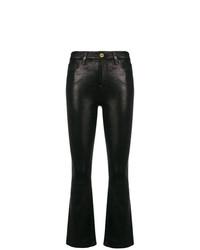 schwarze Schlaghose aus Leder von Frame Denim