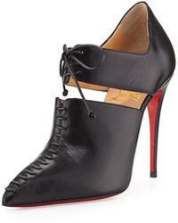 schwarze Schnürstiefeletten aus Leder mit Ausschnitten