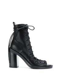 schwarze Schnürstiefeletten aus Leder mit Ausschnitten von Ann Demeulemeester Blanche