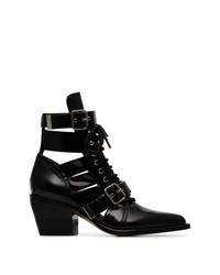 schwarze Schnürstiefeletten aus Leder mit Ausschnitten von Chloé