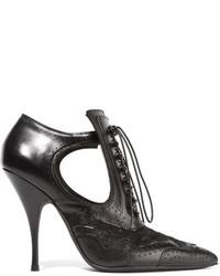 schwarze Schnürstiefeletten aus Leder mit Ausschnitten von Givenchy