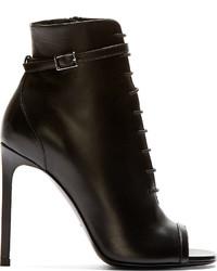 schwarze Schnürstiefeletten aus Leder mit Ausschnitten von Saint Laurent