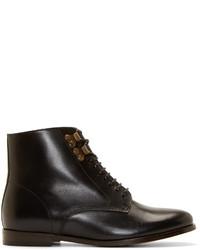schwarze Schnürstiefeletten aus Leder von A.P.C.