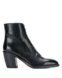 schwarze Schnürstiefeletten aus Leder von Alberto Fasciani
