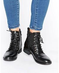 schwarze Schnürstiefeletten aus Leder von Aldo