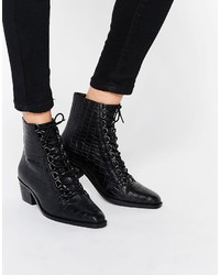 Schwarze Schnürstiefeletten aus Leder von Asos