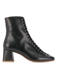 schwarze Schnürstiefeletten aus Leder von BY FA