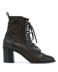 schwarze Schnürstiefeletten aus Leder von Casadei