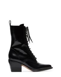 schwarze Schnürstiefeletten aus Leder von Chloé