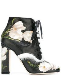 schwarze Schnürstiefeletten aus Leder von Dolce & Gabbana