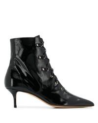 schwarze Schnürstiefeletten aus Leder von Francesco Russo