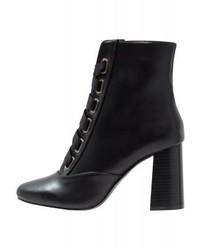Schwarze Schnürstiefeletten aus Leder von Miss Selfridge