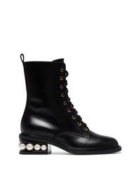 schwarze Schnürstiefeletten aus Leder von Nicholas Kirkwood
