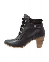 Schwarze Schnürstiefeletten aus Leder von s.Oliver