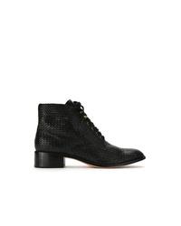 schwarze Schnürstiefeletten aus Leder von Sarah Chofakian