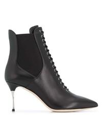 schwarze Schnürstiefeletten aus Leder von Sergio Rossi