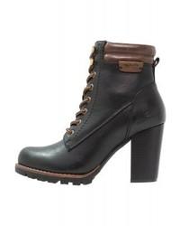 Schwarze Schnürstiefeletten aus Leder von Tom Tailor