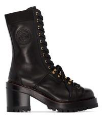schwarze Schnürstiefeletten aus Leder von Versace