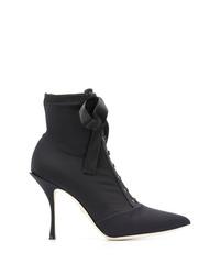 schwarze Schnürstiefeletten aus Segeltuch von Dolce & Gabbana