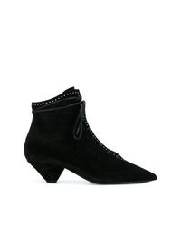schwarze Schnürstiefeletten aus Wildleder von Saint Laurent