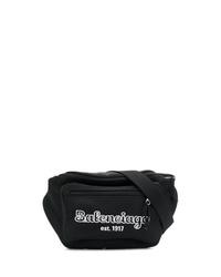 schwarze Segeltuch Bauchtasche von Balenciaga