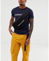 schwarze Segeltuch Bauchtasche von Calvin Klein Jeans
