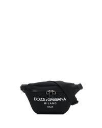 schwarze Segeltuch Bauchtasche von Dolce & Gabbana