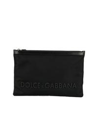 schwarze Segeltuch Clutch Handtasche von Dolce & Gabbana
