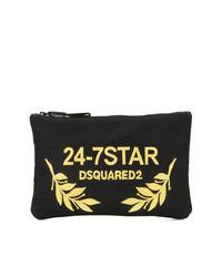 schwarze Segeltuch Clutch von Dsquared2