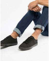 schwarze Segeltuch niedrige Sneakers von ASOS DESIGN
