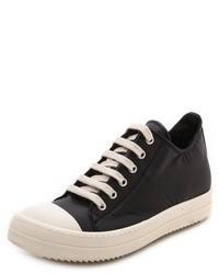 schwarze Segeltuch niedrige Sneakers von Rick Owens