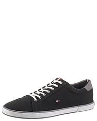 schwarze Segeltuch niedrige Sneakers von Tommy Hilfiger