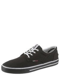 schwarze Segeltuch niedrige Sneakers von Tommy Jeans