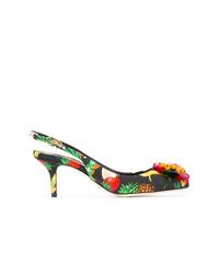 schwarze Segeltuch Pumps mit Blumenmuster von Dolce & Gabbana