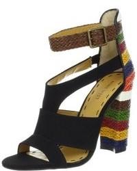 schwarze Segeltuch Sandaletten