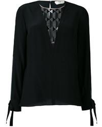 schwarze Seide Bluse mit geometrischem Muster von Fendi