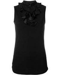 schwarze Seide Bluse mit Rüschen von Emporio Armani