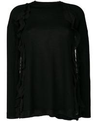 schwarze Seide Bluse mit Rüschen von RED Valentino