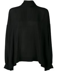 schwarze Seide Bluse von Balenciaga