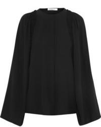 schwarze Seide Langarmbluse von Givenchy