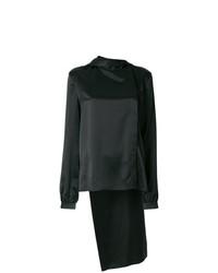 schwarze Seide Langarmbluse von Saint Laurent