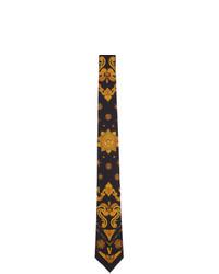 schwarze Seidekrawatte mit Blumenmuster von Versace