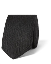 schwarze Seidekrawatte mit Fischgrätenmuster von Prada