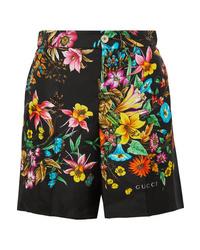 schwarze Seideshorts mit Blumenmuster von Gucci