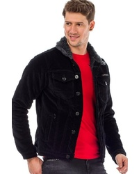 schwarze Shirtjacke aus Cord von Cipo & Baxx