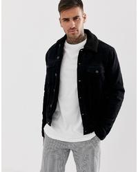 schwarze Shirtjacke aus Cord von New Look