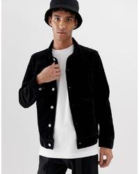 schwarze Shirtjacke aus Cord von Weekday